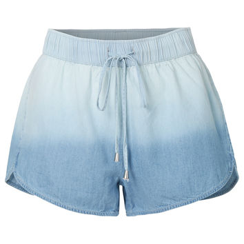LE3NO Womens Lightweight Washed Denim Shorts with Drawstring Waist