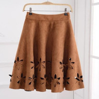 Early Autumn New Fashion Suede Skirt Women Hollow Solid Tutu Skirts Retro Style Casual All-Match Skirts Saia Feminina