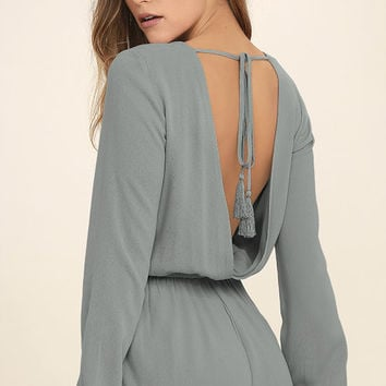 Greatest Hits Grey Backless Romper