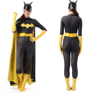 black batman costume adult women halloween costumes for women sexy batgirl superhero cosplay bodysuit zentai mask cape custom