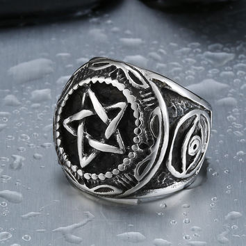 Beier One Piece Men's Unique Design Gothic Style Five Star Ring 316l Titanium Stainless Steel Jewelry