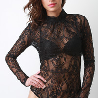 Semi-Sheer Floral Lace Mock Neck Long Sleeve Bodysuit