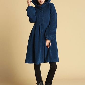 Blue women's jacket wool hooded coat (476)