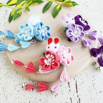 Rabbit and Plum Blossoms Dangle Hair Clip