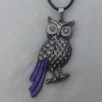 Purple owl stainless steel pendant necklace
