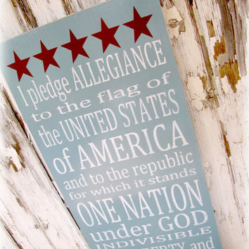 The Pledge of Allegiance - Flag - 4th of July - USA-  Shabby Chic Typography Sign-White, Charcoal Gray and Pink