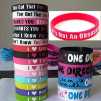 20pcs I Love ONE Direction Bracelet Silicone Wristband so in Love Heart 1d 20pcs | deviazon.com
