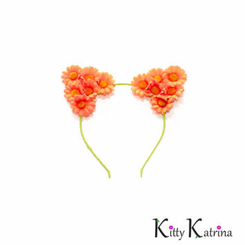 Neon Orange Cat Ear Headband, Floral Cat Ears, Kitty Ears Headband, Neon Clothing, Burning Man Clothing, TomorrowWorld, TomorrowLand, Ezoo