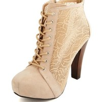 Floral Mesh Inset Lace-Up Bootie: Charlotte Russe