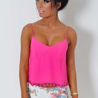 Aisha Hot Pink Crop Top | Pink Boutique