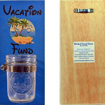 Wooden Wall Change Jar 10x5 Sign - Vacation Fund