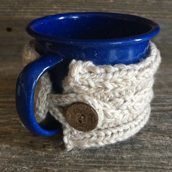 Knit Coffee Cozy, Coffee Sleeve, Reusable Coffee Cozy, Coffee Cozies, Coffee Lover Gift, Blue Enamel Mug, Vintage Mug, Vintage Enamelware