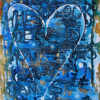"Original Painting, ocean colors, mixed media, song lyrics with heart 14"" x 18"""