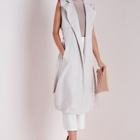 Missguided - Faux Suede Sleeveless Belted Trench Coat Grey