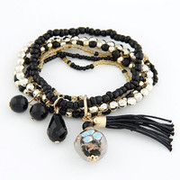 Black Bohemian Multi Layered Bead Tassel Bracelets