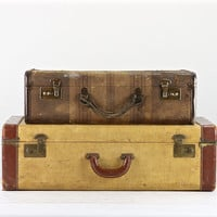 Suitcases, Vintage Suitcases, Suitcase Stack, Old Luggage, Set Of Suitcases, Luggage, Old Luggage, Old Suitcases, Striped Suitcase