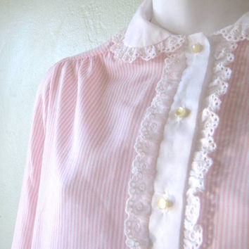 Cotton Blend Vintage White/Pink Stripe Nightgown; Ruffled Peter Pan Collar - Medium-Large Pink/White Long Nightgown - Long Cute Nightie