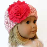 Pink Doll Hat Crochet Beanie 18 Inch Doll Clothes Accessories