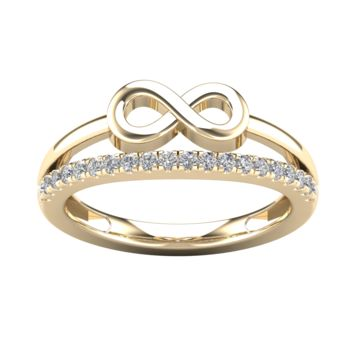 0.24CT Diamond Infinity Two lines Ladies Ring in 14K Gold