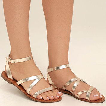 Sonata Champagne Flat Ankle Strap Sandals