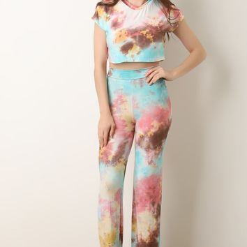 Tie Dye Crop Top With High Waisted Flared Pants Set