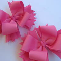 Monochrome Bubblegum Pink Pig Tail Bows