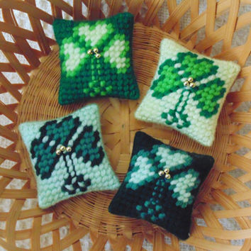 Lucky Charm Shamrock Mini Pillows,SET of FOUR,  St. Patrick's Day, Needlepoint Pillows, Miniature Clover Pillows, Clover Needle Art