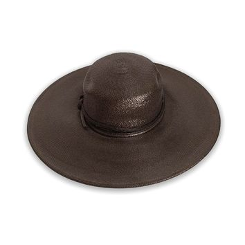 Wide Brim Straw Hat, Chocolate Brown by Adele Claire, Hat Size 21
