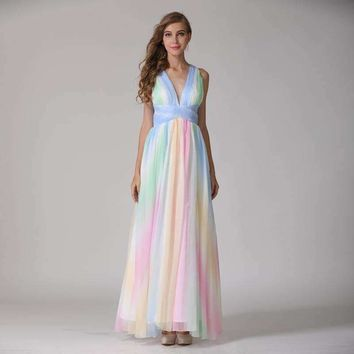 Womens Rainbow Patch Sleeveless V-Neck Back Cross Straps Long Maxi Dress