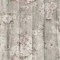 Wood Texture Floral Removable Wallpaper