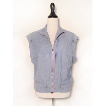 1990s A.B.S. California Chambray Zip Up Vest