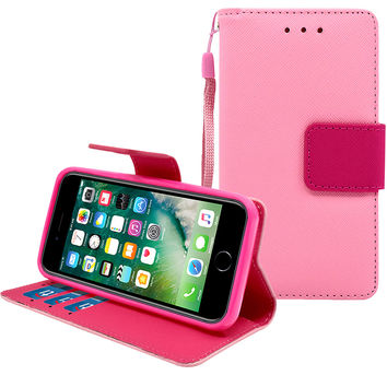 IPhone 7 Leather Wallet Pouch Case Cover Pink