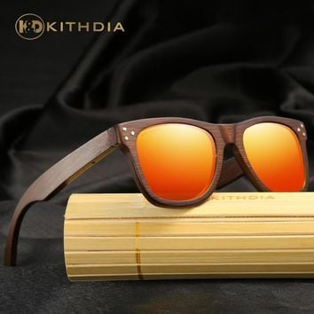 KITHDIA Brand Designer Wood Bamboo Sunglasses Polarized Wooden Sun Glasses With Box Retro Vintage Eyewear / Drop Shippin #KD028