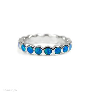 Sterling Silver Round Opal Inlay Band - Blue