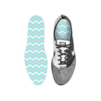 Chevron Tiffany Blue Custom Insoles