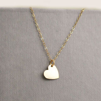 Gold Love Heart Necklace Initial Minimal Everyday Jewelry