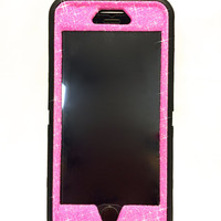 iPhone 6 Plus OtterBox Defender Series Case Glitter Cute Sparkly Bling Defender Series Custom Case  black /pink