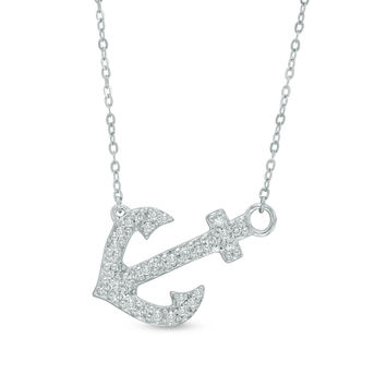 1/10 CT. T.W. Diamond Sideways Anchor Necklace in 10K White Gold - 17