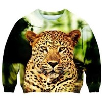 Romwe Women's Cute Leopard Walking In Forest Pattern Polyester Sweatshirt-Colorful-M