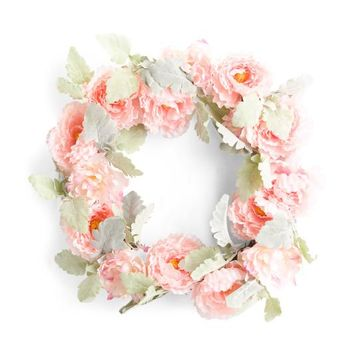 """24"""" Faux Pink Peony Wreath"""