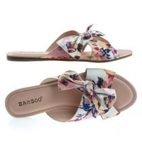 Bliss87M Blush Floral by Bamboo, Comfortable Padded Flat Slide In Slipper Sandal in Solid & Floral Print