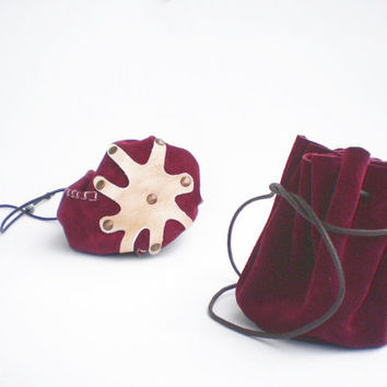 Drawstring leather pouch, Coin Purse, Jewelry bag, Boho style, Dark  Red Oxblood