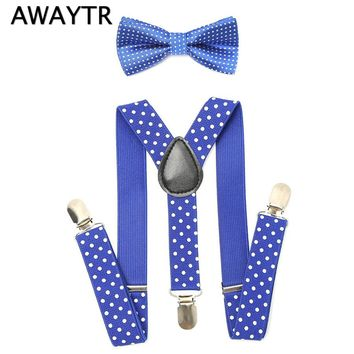 Boys Suspenders Kids New Elastic Adjustable Clip-on Bowtie Bow Tie Kids Wedding Polka Dot Suspenders Set