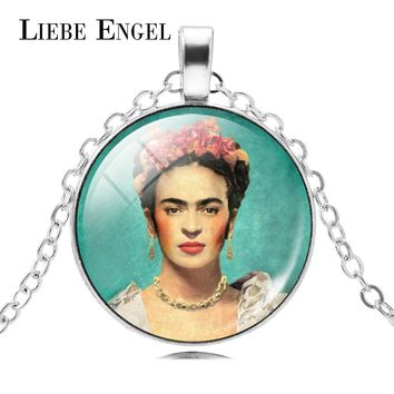 LIEBE ENGEL Frida Kahlo Glass Cabochon Choker Necklace Women Jewelry Vintage Silver Color Chain Statement Necklace & Pendant