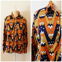 Womens 70s Mod Psychedelic Vintage Button Down Long Sleeve Fall Top Medium