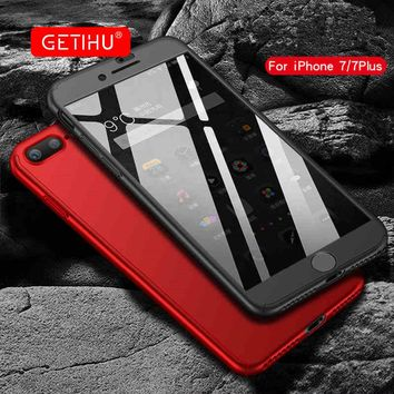 GETIHU Case Luxury 360 Degree Protection For iphone 8 Case Cover Mobile Phone Shell For iphone 8 plus Cases + Nano Glass 8 PLUS