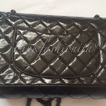 Chanel Glazed Calfskin 2.55 Reissue So Black Flap Black Hardware Bag complete
