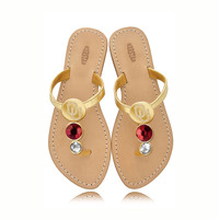 Oklahoma Sooners Ladies Jewel Embellished Flat Sandals-With Large Red Jewel and Small white Jewel