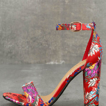 Veda Red Brocade Ankle Strap Heels