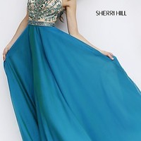 Floor Length Sleeveless Sherri Hill Dress with Illusion Bodice